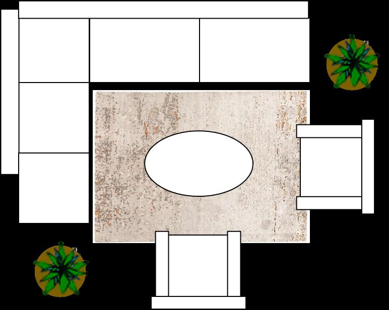 Ecksofa mit kleinem Teppich in 170x240cm.