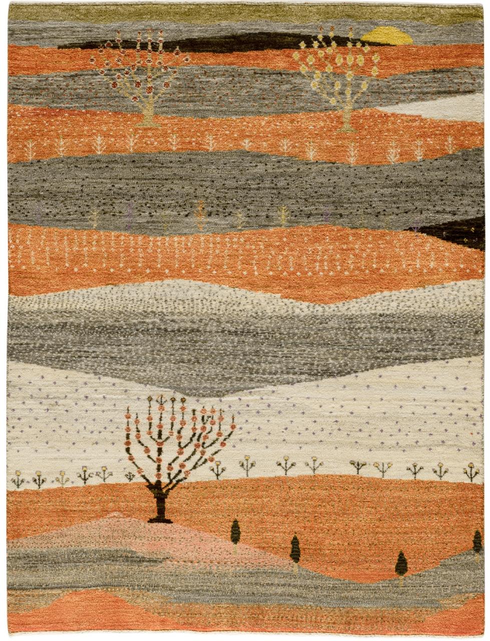 Iran Gabbeh Teppich-Unikat Orange Landschaft