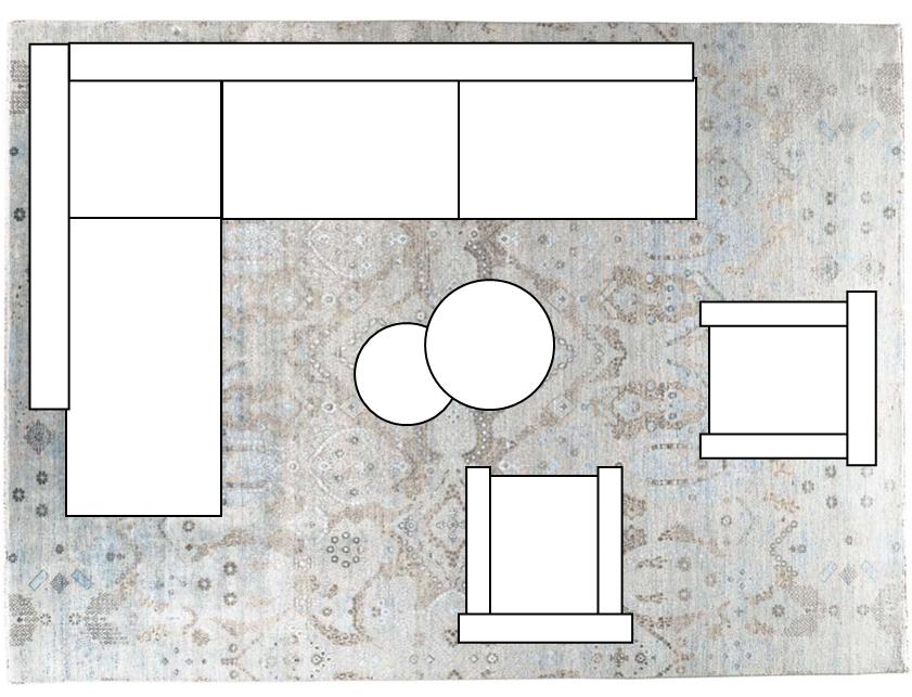 Ecksofa und Teppich in 250x350cm oder 300x400cm verleihen dem Raum ein XL-Wohngefühl.