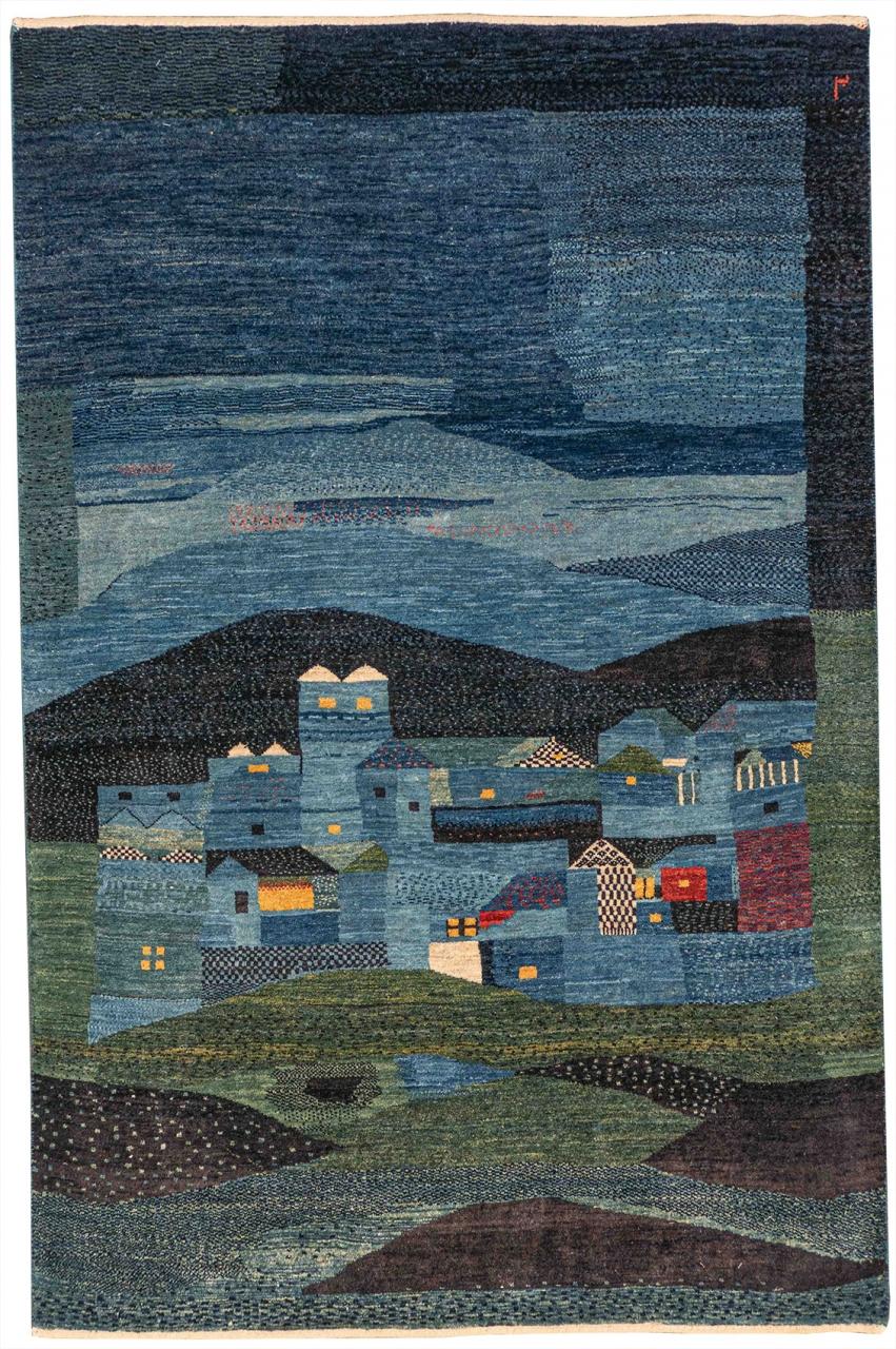 Iran Gabbeh Teppich-Unikat Dorf bei Nacht