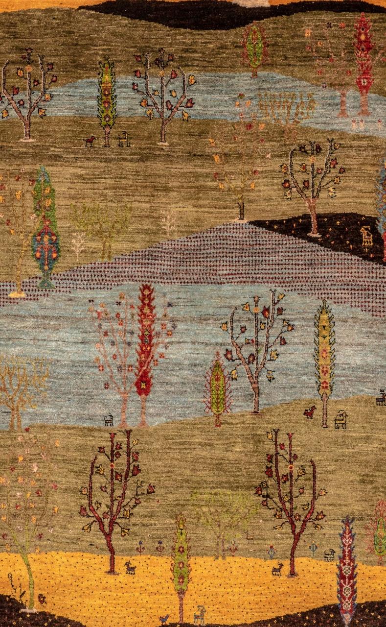 Iran Gabbeh Teppich-Unikat Zypressengarten