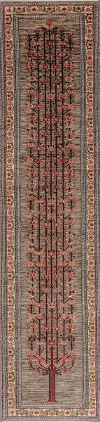 Iran Gabbeh Teppich-Unikat Läufer Lebensbaum