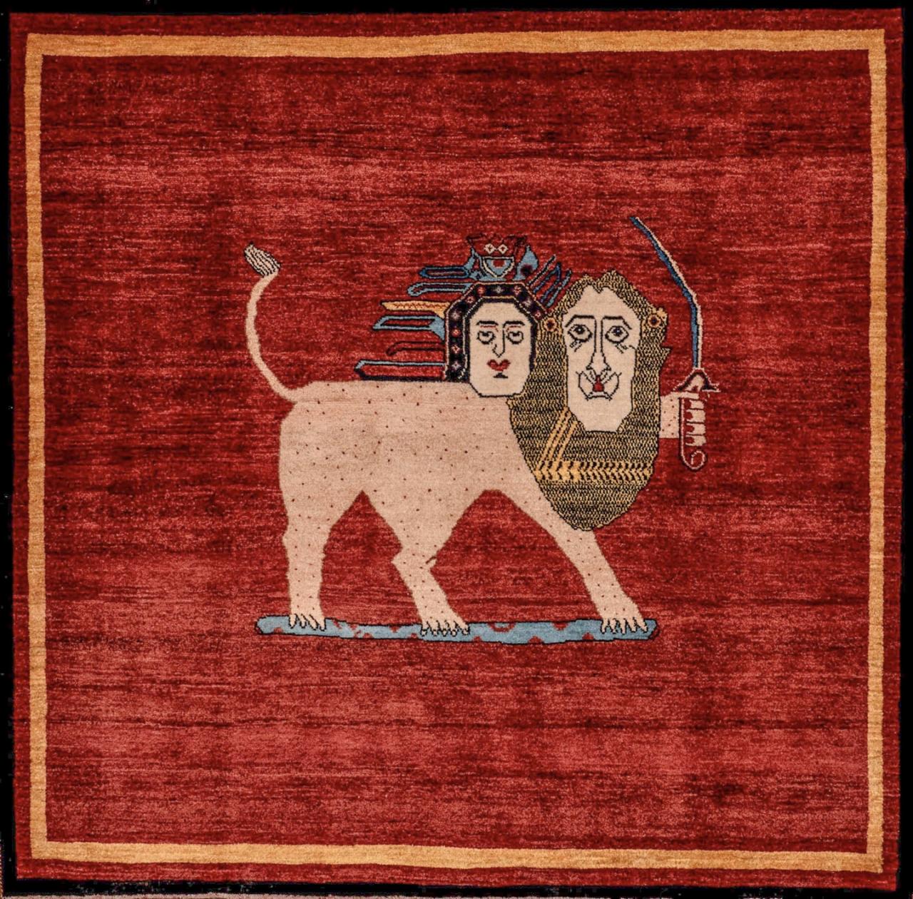 Iran Gabbeh Teppich-Unikat Löwenwächter
