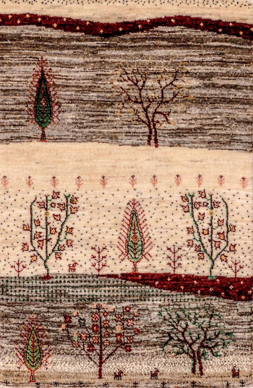 Iran Gabbeh Teppich-Unikat Beige Hügel