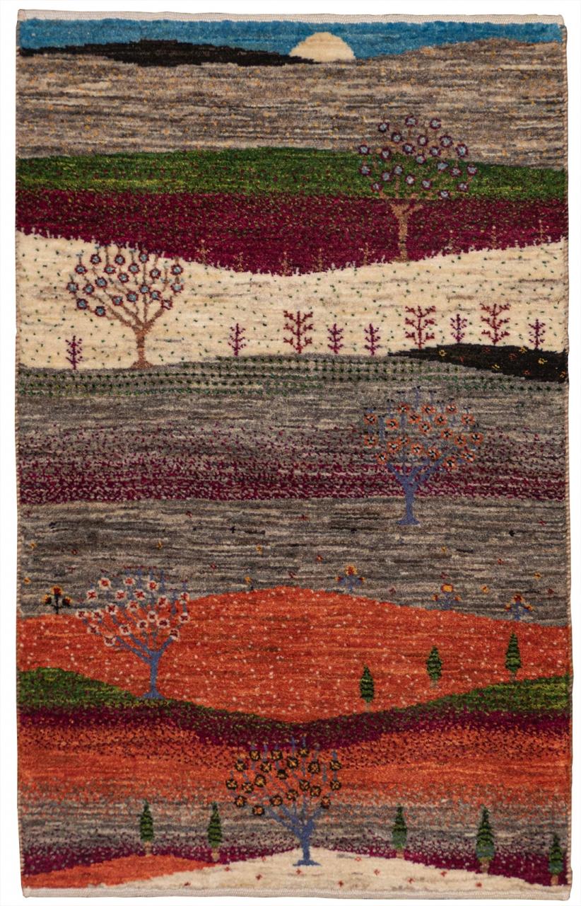 Iran Gabbeh Teppich-Unikat Landschaftsbild