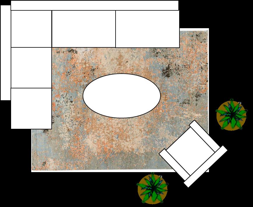 Ecksofa mit einem größeren Teppich in 200x250cm.170x240cm.