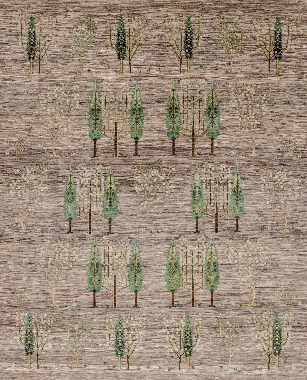 Iran Gabbeh Teppich-Unikat Zypressenlandschaft